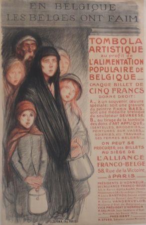 Lithographie Steinlen - En Belgique Les Belges Ont Fain
