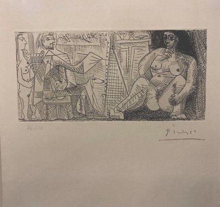 Eau-Forte Picasso - En el atelier, pintor, modelo y espectador