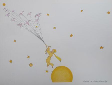 Lithographie Saint-Exupéry - En route vers une autre planéte