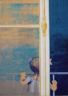 Sérigraphie Cremonini - Enfant à la fenêtre