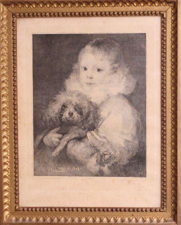 Eau-Forte Carriere - Enfant au chien