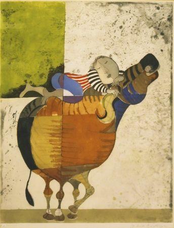 Eau-Forte Boulanger - Enfant sur vache