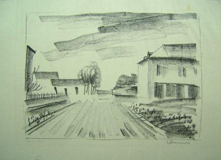 Lithographie Vlaminck - Entrée de Village