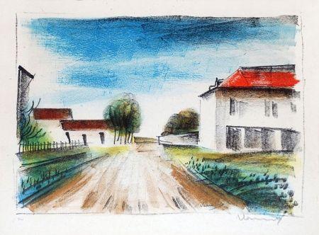 Lithographie Vlaminck - Entrée de Village II (La Route de Francheville)