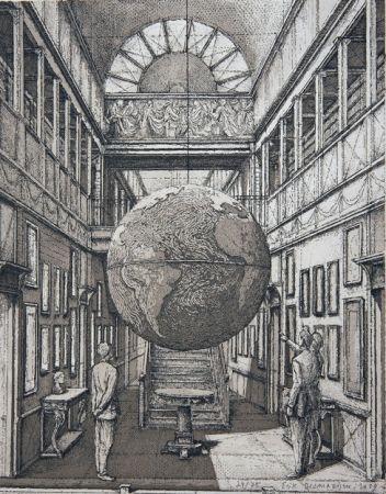 Eau-Forte Et Aquatinte Desmazières - Entrance Hall with a Globe