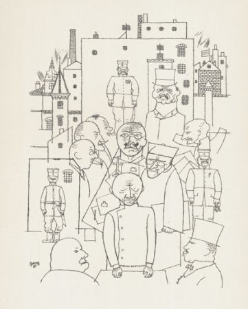 Lithographie Grosz - Er hat Hinderburg verspottet