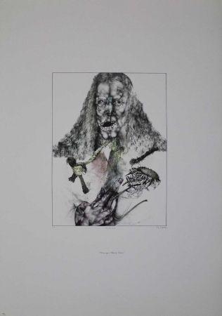 Lithographie Schwarz - Er ist tot (Hommage à Albrecht Dürer)