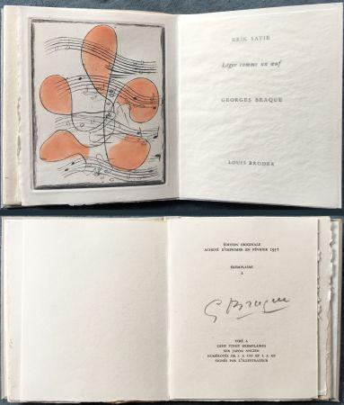 Livre Illustré Braque - Erik satie : LÉGER COMME UN ŒUF. Une gravure originale en couleurs (1957)