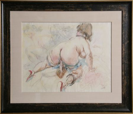 Lithographie Grosz - Erotic Drawing