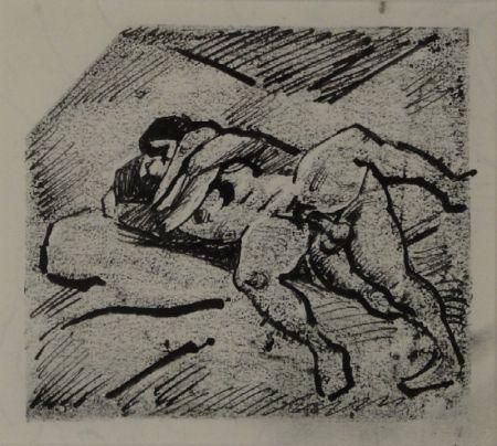 Monotype Schürch - (Erotische Szene liegend)