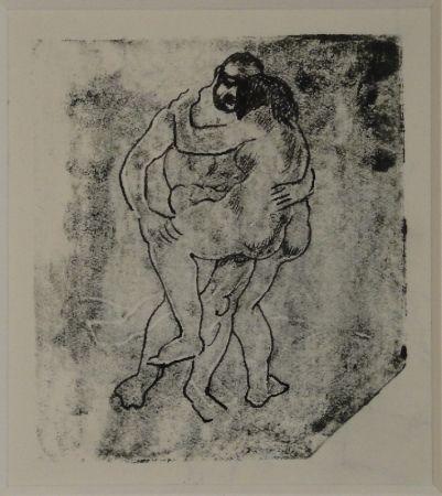Monotype Schürch - (Erotische Szene stehend)