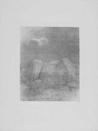 Lithographie Redon - Et il distingue....
