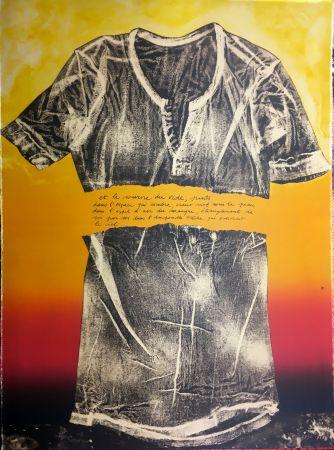 Lithographie Recalcati - Et le sourire du vide…(Placard Bailly). Version en rouge. Lithographie de 1975