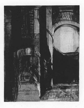 Lithographie Redon - Et partout ce sont des colonnes de basalte...