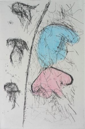 Gravure Balle - Etching with watercolour