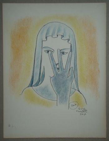 Lithographie Cocteau - Etude - La vierge se cache le visage avec 3 doigts