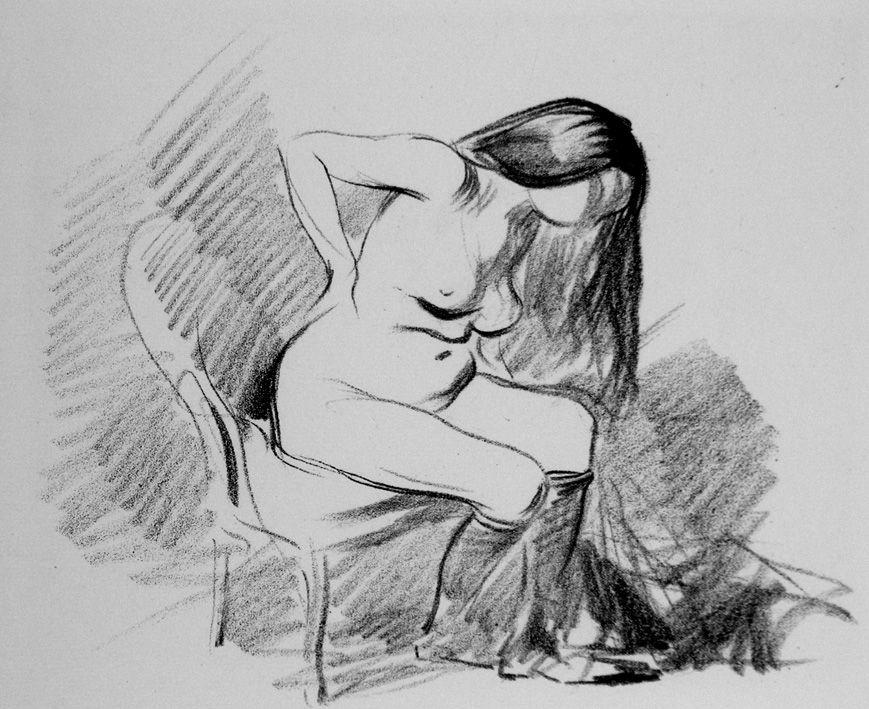 Lithographie Forain - Etude de femme assise, se déshabillant