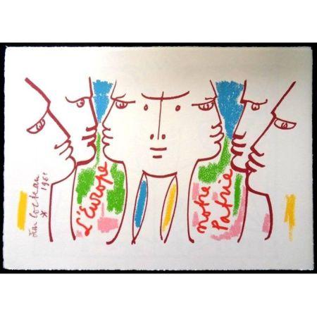 Lithographie Cocteau - Europe Notre Patrie