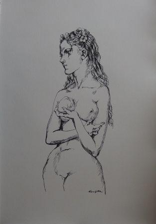 Lithographie Foujita - Eve à la pomme