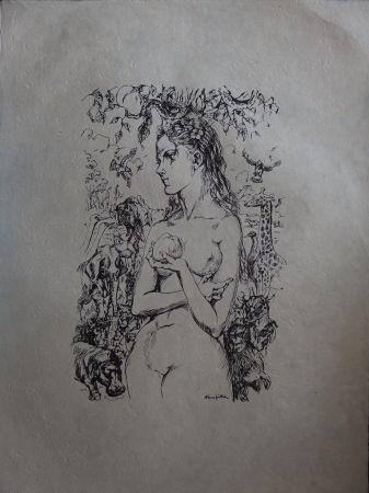 Lithographie Foujita - Eve au Jardin d'Eden