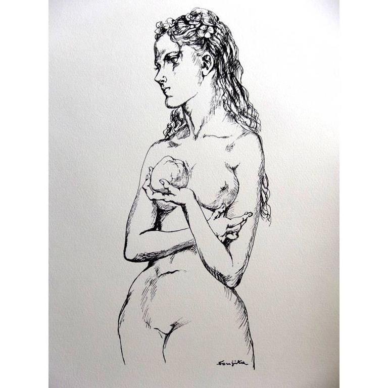 Lithographie Foujita - Eve et la Pomme