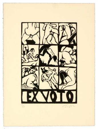 Linogravure Topor - Ex-voto