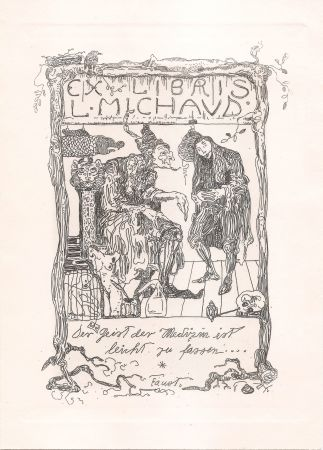 Gravure Klee - Ex Libris L. Michaud