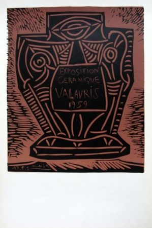 Linogravure Picasso - Exposition Ceramique Vallauris 1959