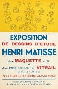 Lithographie Matisse - Exposition de dessins d'étude ,Vence