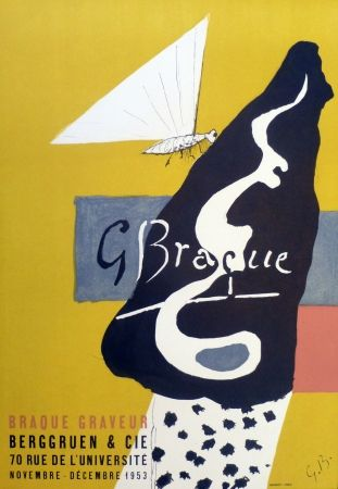 Lithographie Braque - Exposition galerie Berggruen 1953