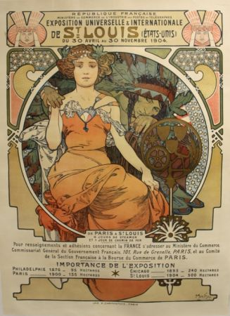 Lithographie Mucha - Exposition Universelle et Internationale  St Louis USA