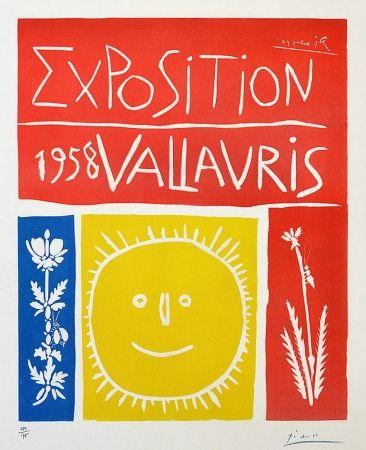 Linogravure Picasso - Exposition Vallauris, 1958