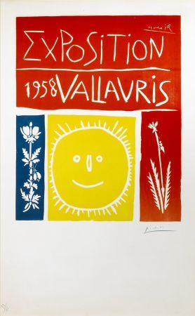Linogravure Picasso - Exposition Vallauris 1958
