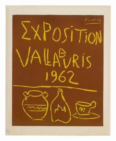 Linogravure Picasso - Exposition Vallauris 1962
