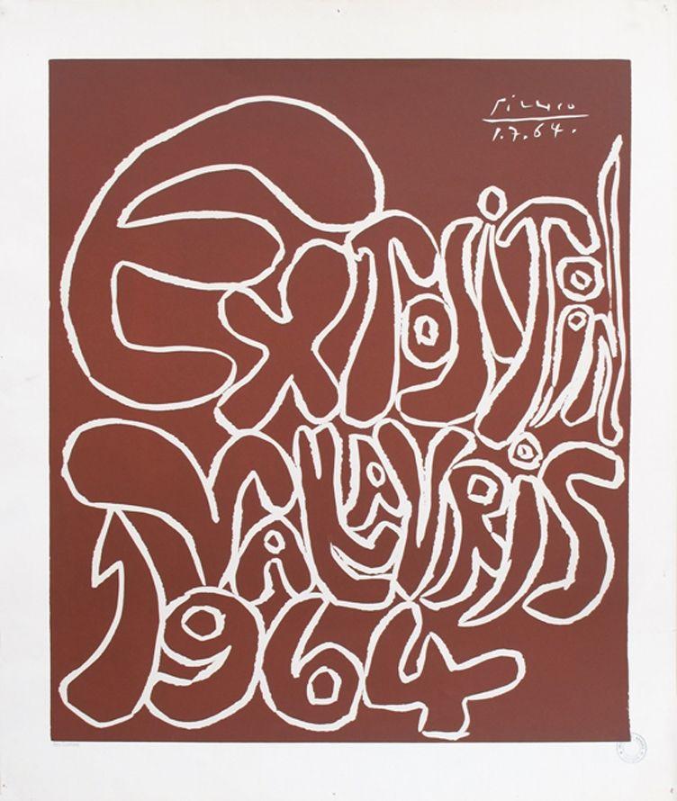Linogravure Picasso - '' Exposition Vallauris 1964 ''