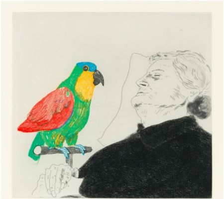 Eau-Forte Hockney -  Félicité sleeping with Parrot. 1974