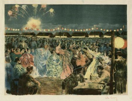 Lithographie Lunois - Fête de nuit sur les bords du Guadalquivir