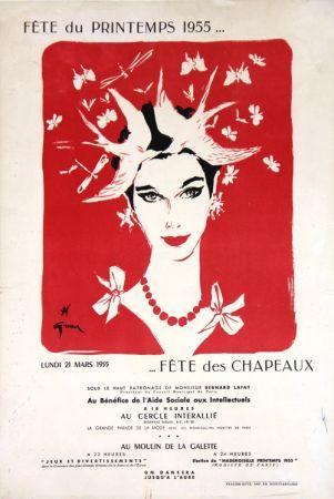 Lithographie Gruau - Fête du Printemps,Fête des Chapeaux