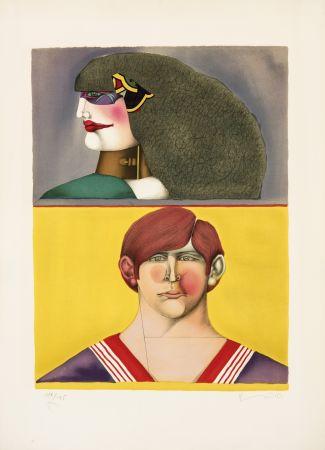 Lithographie Lindner - Face et profil