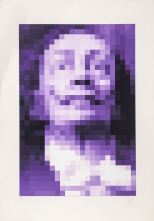 Sérigraphie Yvaral - Face of Dali - Purple