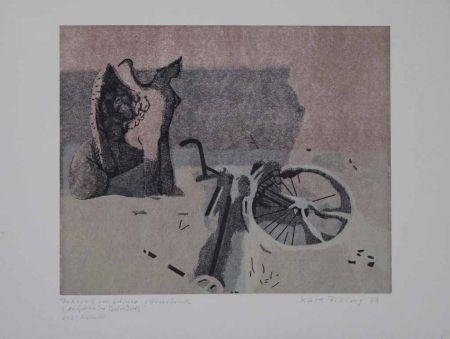 Linogravure Rössing - Fahrrad im Schnee (Der Sphinx im Belvedere)
