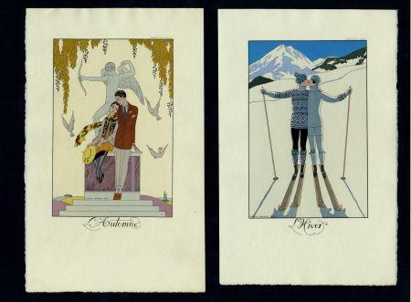 Livre Illustré Barbier - FALBALAS ET FANFRELUCHES. Almanach des modes présentes, passées et futures pour 1922, 1923, 1924, 1925 et 1926. Collection complète