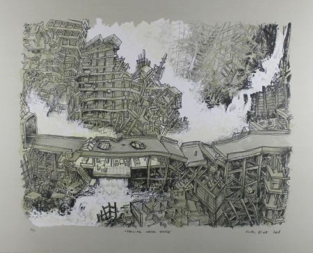 Lithographie Oiwa - Falling Water House