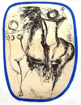 Lithographie Marini - Famille d'acrobates