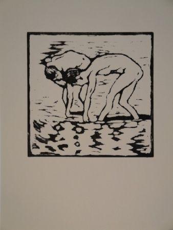 Gravure Sur Bois Giacometti - Fanciulli nel lago, Alberto und Diego im Silsersee