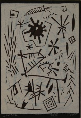 Linogravure Nebel - Farbiger Linolschnitt (Werknummer L. 643/1972).