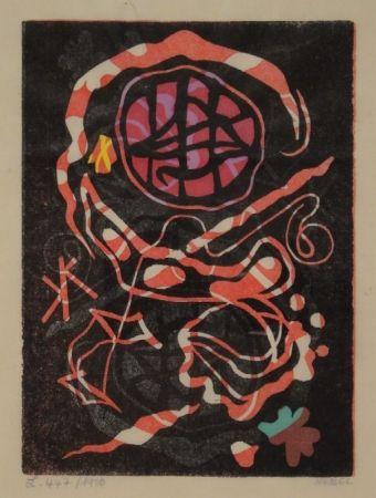 Linogravure Nebel - Farbiger Linolschnitt, zum Teil handkoloriert.