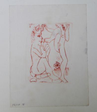 Gravure Picasso -  Faune Et Bacchante , Avec Combat De Faunes