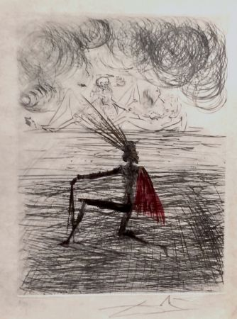 Gravure Dali - Faust Chevalier a Genou
