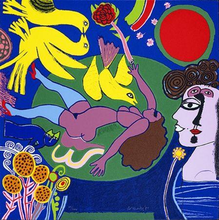 Sérigraphie Corneille - Femme à la fleur